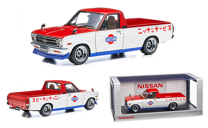 Nissan Sunny Truck Long (B121) Red/White 1/18